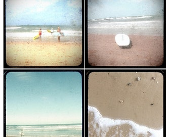 The Surf Set of 4 beach photos - beach photography, ocean wall art, surfers, surfboard, sand, ttv, vintage, 4x4, 5x5, 8x8, beach picture set