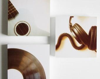 because it's all about the music - set of 3 photo blocks - polaroid, ukelele, vinyl, headphones, for him, dorm decor, teenage decor