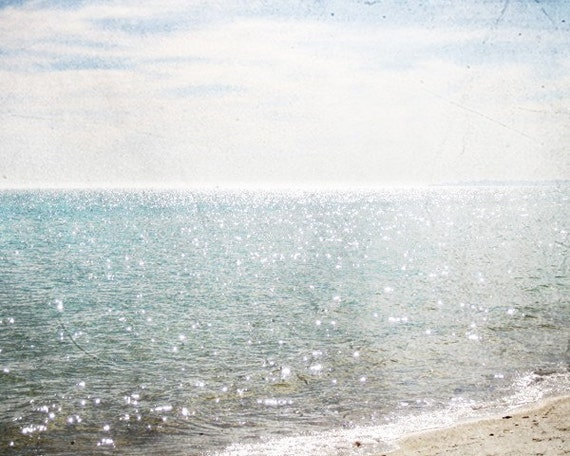 Beach photography, ocean, pale blue, aqua, white, bokeh, sparkling water, seafoam, sail boat, beach decor,wall art - Sail Away With Me
