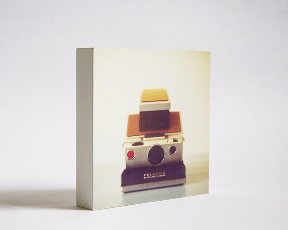 SALE Last One!  The sx 70 -  photo block - vintage camera photo, retro, minimalist, for him, dorm decor, sepia tones, office art, home decor