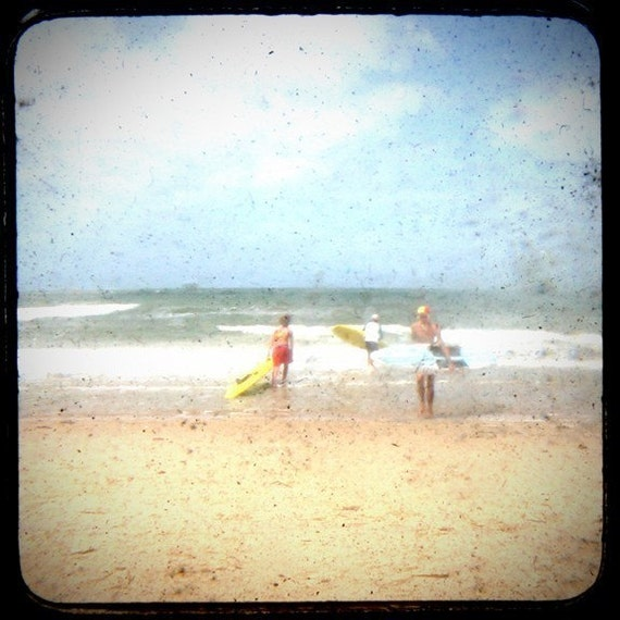 Three Surfers - 8x8 Through the Viewfinder Photographic Print
