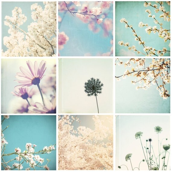 Flower photo set, 9 8x8 blossom photos, floral decor, pink, blue, turquoise, mint, cherry blossoms, shabby chic decor - Dreaming of Spring