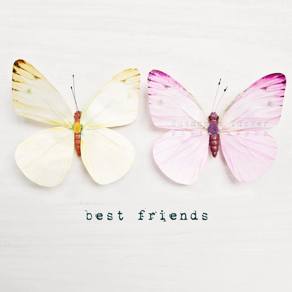Whimsical butterfly photo, yellow, lemon, pastel pink, white, typography, friendship, two, for her, sisters, girls wall art - Best Friends