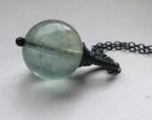 Moss Aquamarine Pendant Blackened Silver Necklace