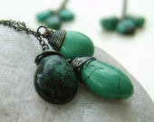 Natural Green Turquoise Blackened Silver Necklace - OVGilliesDesigns