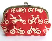 Red and Cream Bicycle Cycle Print Cosmetic Purse, Makeup Bag, Handbag Organizer
