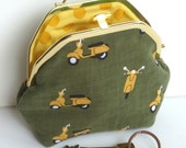 Yellow Cotton Vespa Scooter Moped Print Cosmetic Purse, Gadget Pouch, Makeup Bag