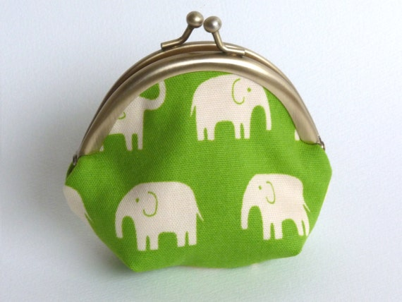 Green and Cream Elephant Print Coin Purse, Change Purse, iPhone Earbud Case