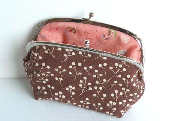 Brown and Cream Berry Print Cosmetic Purse, Makeup Bag, Handbag Organizer