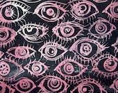Handpainted Fabric---Red Eye Batik