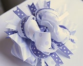 Lilac and White Layered Boutique Bow OOAK