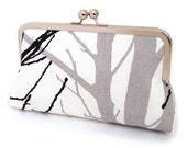 Wood for the trees clutch bag with silk lining