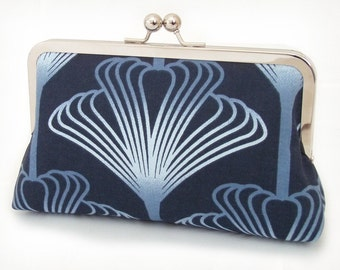 SALE: clutch purse with silk lining, indigo blue plume