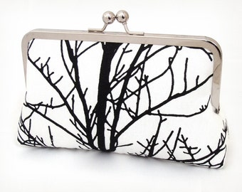 SALE: clutch bag, black and white, tree silhouette, clutch purse bag, woodland wedding