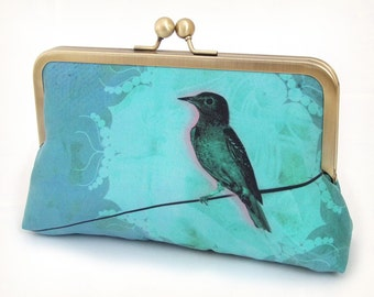 Clutch bag, bridesmaid gift, wedding purse, teal turquoise silk, BIRD ON A WIRE
