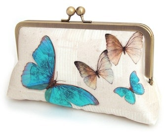 Clutch bag, silk purse, wedding bag, bridesmaid gift, gift box, BLUE BUTTERFLIES
