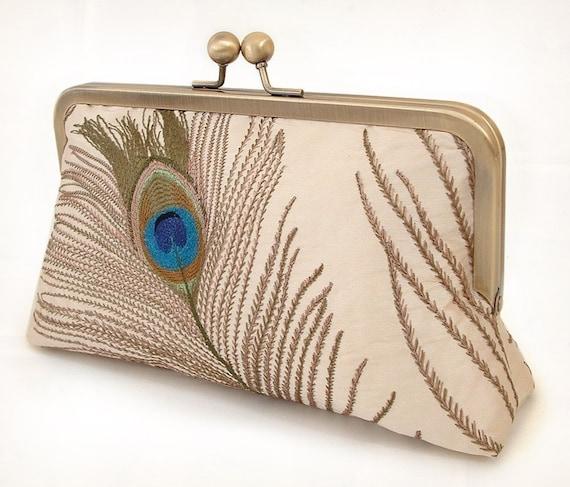 silk peacock feathers - luxury clutch bag