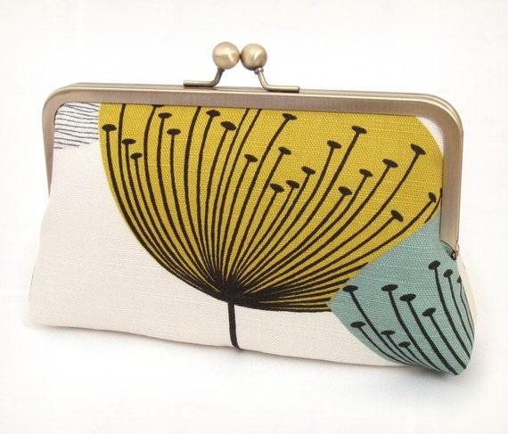 ON SALE: Dandelion clocks clutch, silk-lined purse for bridal / party