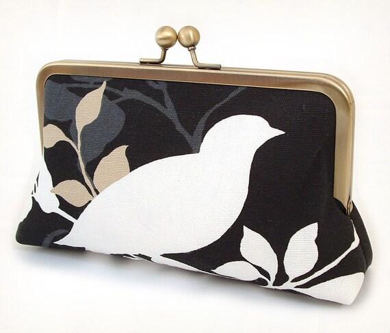 White bird clutch : Silk-lined purse / wedding / bridesmaid / party