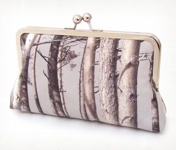 Scots pine, original silk clutch bag