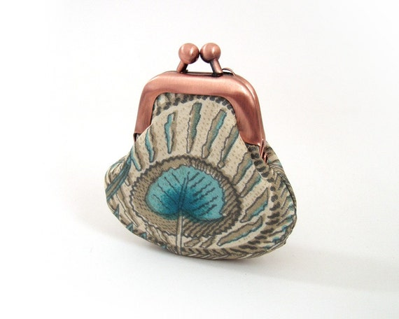 Little peacock, tiny silk-lined purse