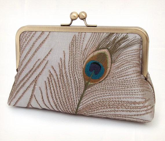 silk clutch purse, luxury silver peacock feathers