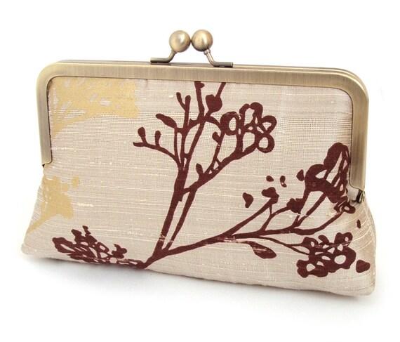 SALE silk seedhead, luxury silk clutch bag with gift box