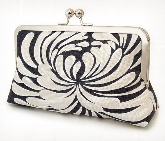 Clutch bag, black and white flower, bridesmaid gift, gift box, STARBURST PETALS