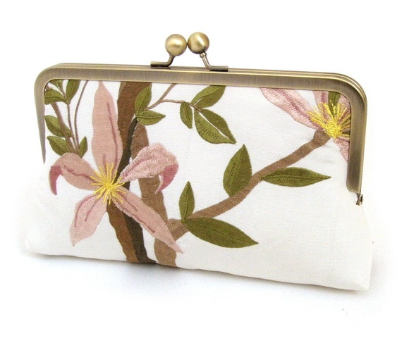 SALE Bird and flowers, luxury clutch purse bag
