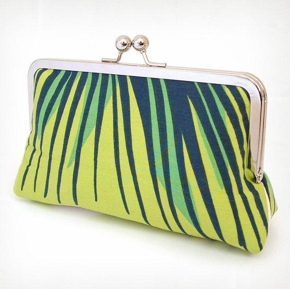 Chartreuse stripe silk-lined clutch bag