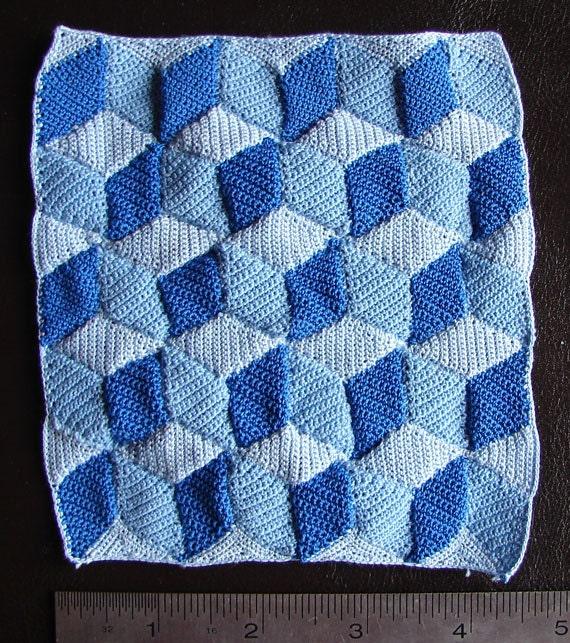 Crochet Patterns Quilt Blocks : Crochet Dollhouse Afghan Blue Building Blocks Quilt