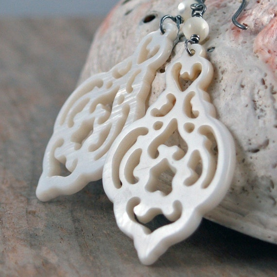 Marrakech Earrings - Carved Mother of Pearl and Sterling Silver Earrings