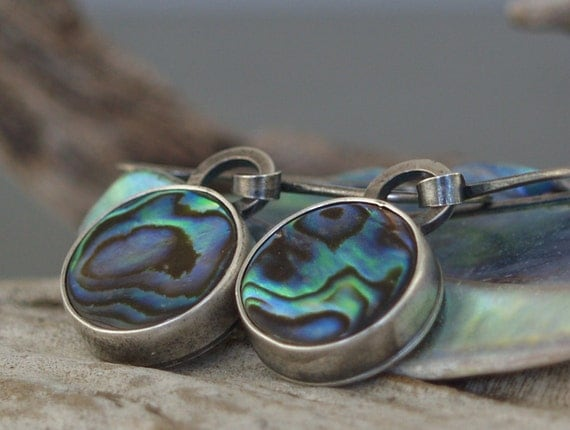 Abalone Drops - Handforged Sterling Silver Earrings