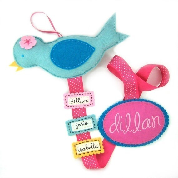 Personalized Blue Bird Bow Holder