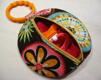 Binky Pouch Pacifier Case Paci Pod Carnival Bloom Michael Miller Fabric Mod Floral Pacifier Holder