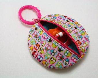 Pacifier holder Pink Owls Binky Pouch Pacifier Case Paci Pod
