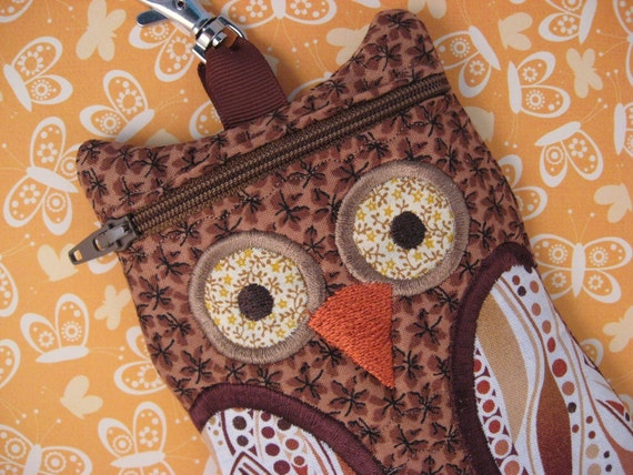 Owl iphone case Brown Quilted Fabric cell phone case