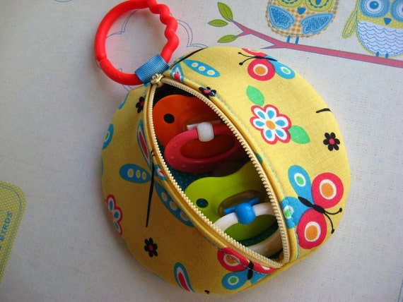 Yellow Dragonfly Butterfly Binky Pouch Pacifier Case Paci Pod