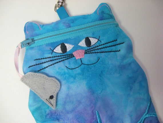 Turquoise Cat shaped cell phone or camera gadget case