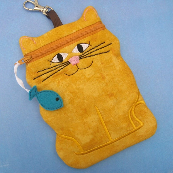 Cat shaped cell phone or camera case in mustard