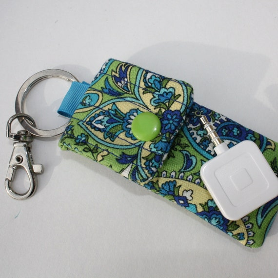 Keyring pouch Square USB case Peacock Paisley