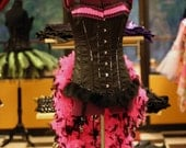 Burlesque Showgirl Corset Costume steel boned pink black feathered tail OOAK Size Medium