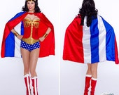 Shorter Super Hero Wonder Woman Cape Satin Red White Blue All American ships ASAP