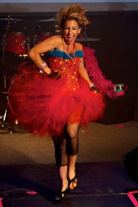 80s cyndi costume with corset and tutu sample sale sz  small