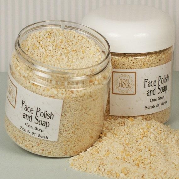 Face Polish and Soap, Easy and Fast, Natural, Oatmeal, Cornmeal, Handmade Soap, 4 Ounce Jar