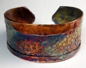 Copper Cuff Bracelet,  Handmade Rustic Fold Formed and Hammered Copper Cuff-  Mosaic Color Blocks