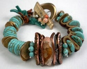 Turquoise Mixed Metal Bracelet, a Beaded Bracelet with Leather, Handcrafted Bronze and Copper PMC, Turquoise and Mexican Fire Opal-Taos