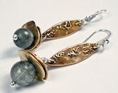 Bronze Dangle Earrings - Handmade Bronze and Gemstone Earrings Featuring Bronze Metal Clay, PMC, Moss Aquamarine - Harmony