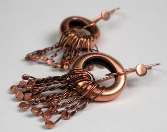 Forged Copper Dangle Earrings- Hammered Earrings Featuring Re-purposed Vintage Copper - Confetti Fringed Fat Tires