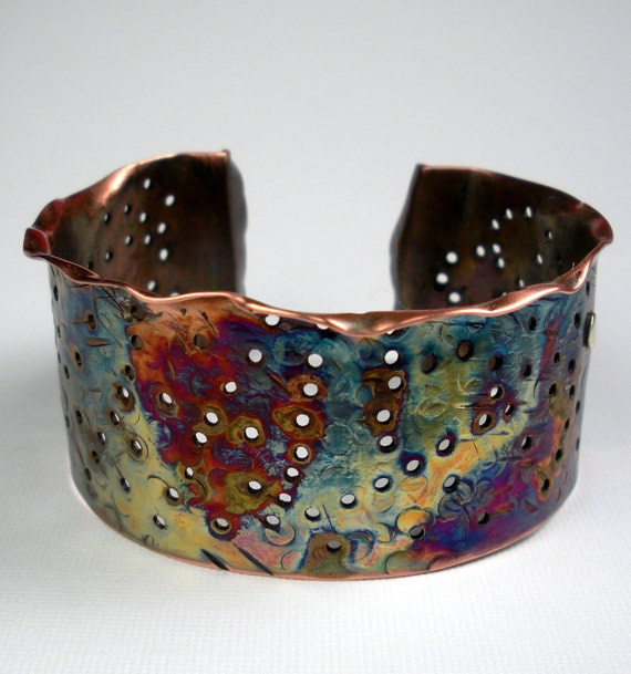 Hammered Copper Cuff Bracelet, A Fold-Formed and Perforated Rustic Copper Bracelet, With an Earthy Heat Patina- Montana